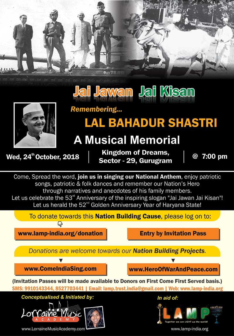 Remembering LAL BAHADUR SHASTRI 24OCT2018